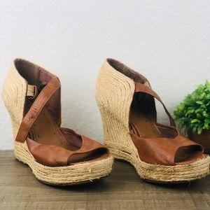 Matisse Wedge espadrilles brown leather sandals